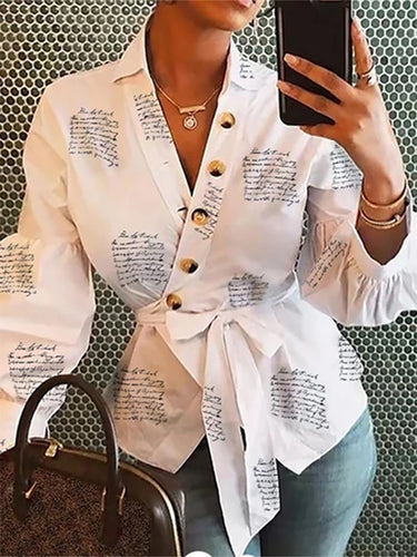 Letter printed white long sleeve top