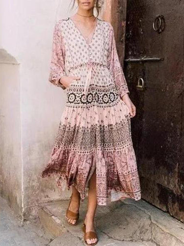 2019 Gentle V-Neck Fashion Bohemian Print Long Sleeve Maxi Dress