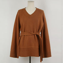 Temperament Loose V Neck Belted Sweater