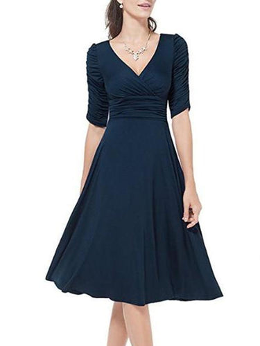 Sexy V-Neck Half Sleeve Solid Skater Dress
