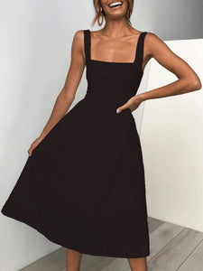 Sexy Casual Sling Sleeveless Solid Slim Midi Skater Dress