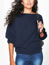 Women Loose Knitted Bat-Wing Sleeve Casual Jumper Type Sweater