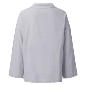 Women's Casual Decorative Button Cotton Linen Pure Color Long Sleeve Top