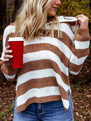 Casual Hooded Contrast Striped Sweater