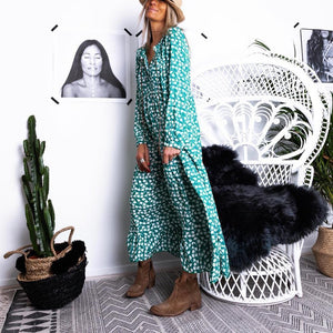 Casual V Neck Printed Long Sleeves Vacation Maxi Dress