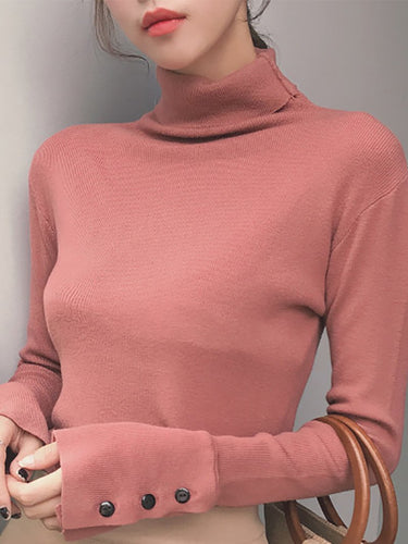 Fashion Long Sleeve Pure Colour Slim Knitwear
