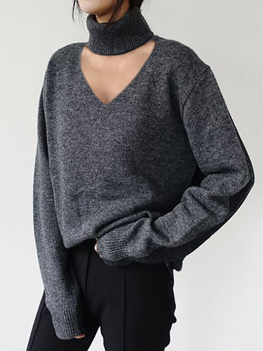 Womens fashion pure color v-collar knitted sweater