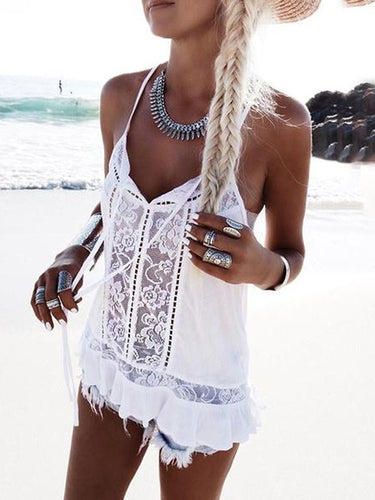 Sexy See-Through Hollow Out V Neck Lace Off-Shoulder Tank Top