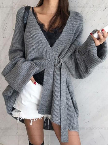 Casual V Neck Pure Colour Loose Belted Cardigan
