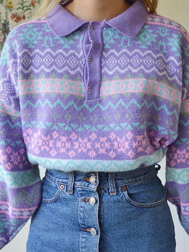 Sweet Purple Striped Loose Fitting Sweater