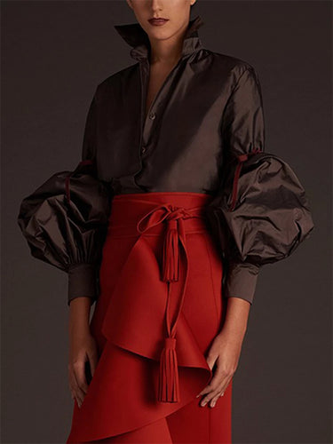 Fashion Long Lantern Sleeves Black Shirt