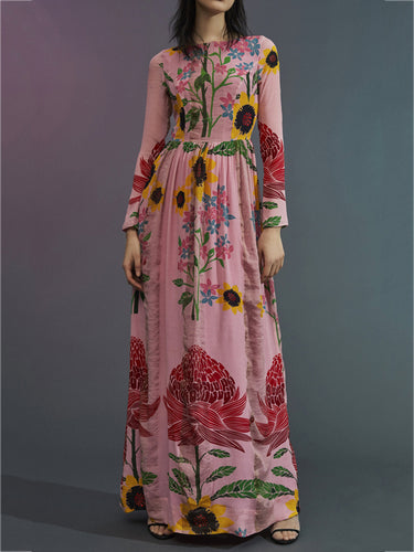 Fashion Printing Long-Sleeved Maxi Dress