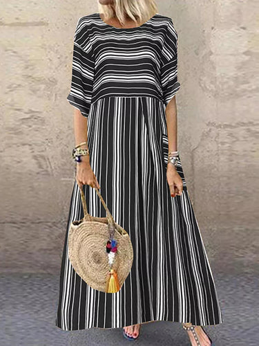 Casual Loose Pocket Short Sleeve Striped Maxi Dress