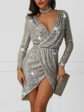 Sexy Sequins Deep V Long Sleeve Dresses
