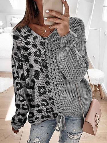 Ladies Fashion Casual Patchwork Leopard Sweater