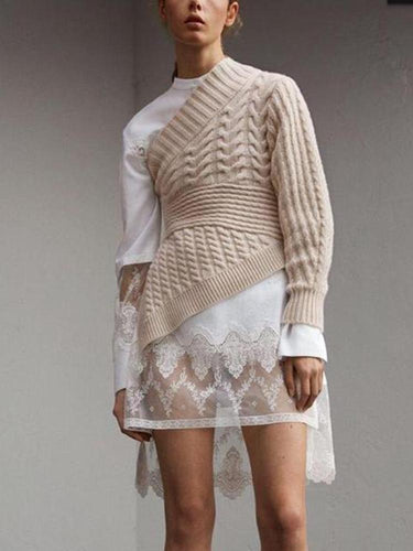 Fashion Sloping   Shoulder Long Sleeve Pure Colour Knitwear Sweater