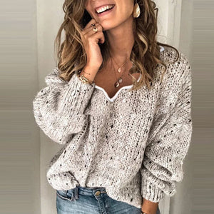 Casual Pure Color Long Sleeve Sweater