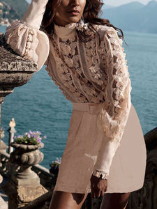 Elegant High Collar Lace Puff Sleeve Blouse