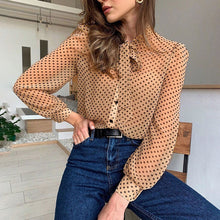 Casual Vintage  Polka Dot Long Sleeve Blouse