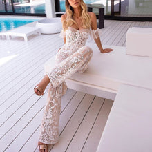 Fashionable Pure Color Open Shoulder Jumpsuit