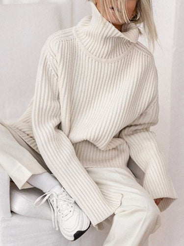 Women's Fashion Turtleneck Solid Loose Sweater