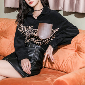 Women's Leopard Patch Midi Shirt