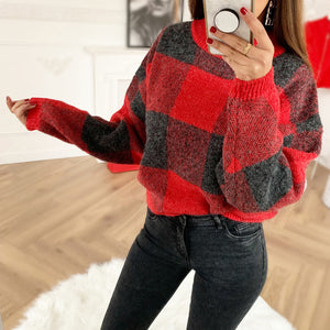 Women's Fashion Contrast Plaid Long Sleeve Sweater