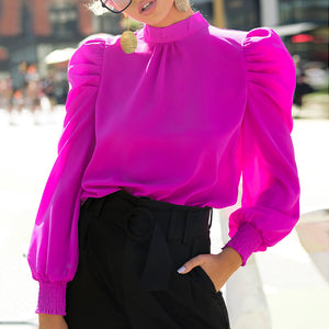 Fashion Solid Color Collar Lantern Sleeve Shirt