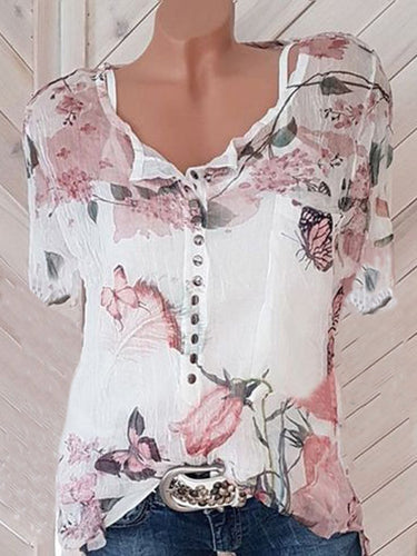 Floral Printed Short Sleeve Blouses