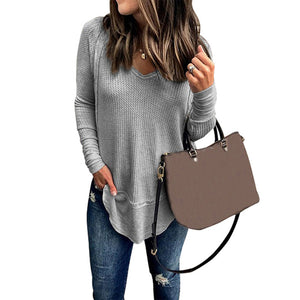 Casual Solid Color V-neck Stitching Loose Long-sleeved T-shirt