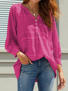 Casual V-Neck Print Loose Long Sleeve Shirt