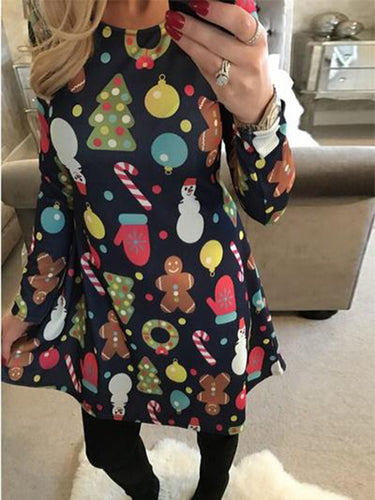 Christmas New Snowman Christmas Tree Print Long Sleeve Dress