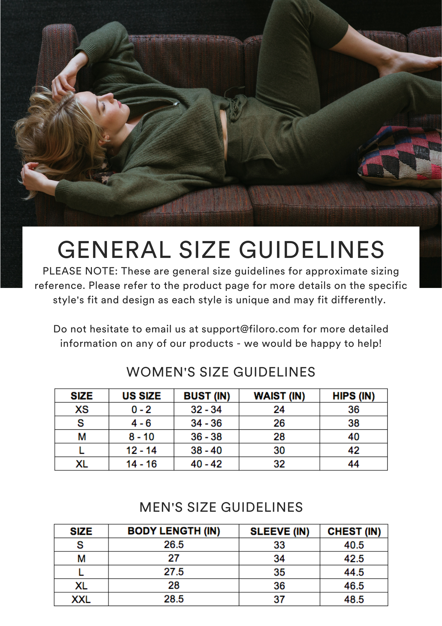 GENERAL SIZE GUIDELINES