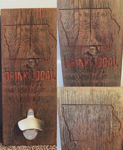 Drink Local Barnwood Bottle Opener