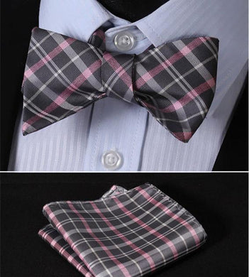 Fine Silk Check Bow & Pocket Square Set