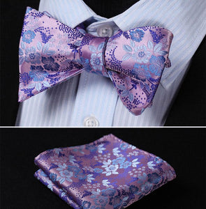 Fine Silk Floral Bow & Pocket Square Set