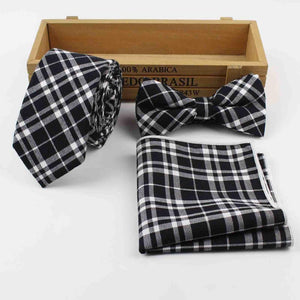 Cotton Plaid Ties & Pocket Square Set