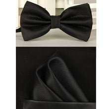 Fine Silk Solid Micro Check Bow & Pocket Square Set