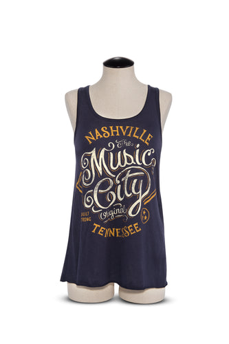 StrawCastle Music City Navy Flowy Racerback Tank