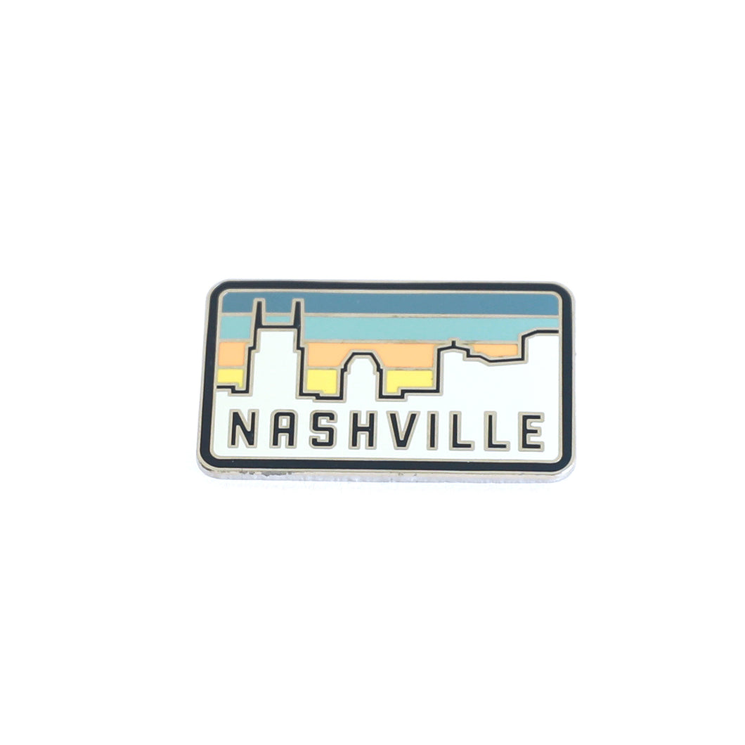 Sunset Over Nashville Metal Lapel Pin