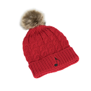Cable Knit Pom Music Note Beanie