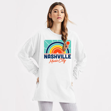 Fall Sun White Long-Sleeve Oversized Tee
