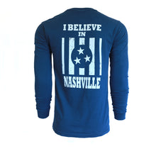 I Believe in Nashville Long Sleeve Navy Tee
