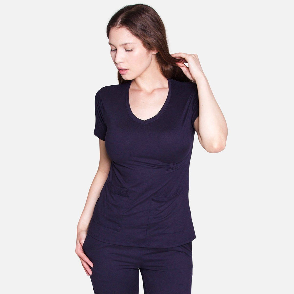 Premium Navy Women's Scrub Top