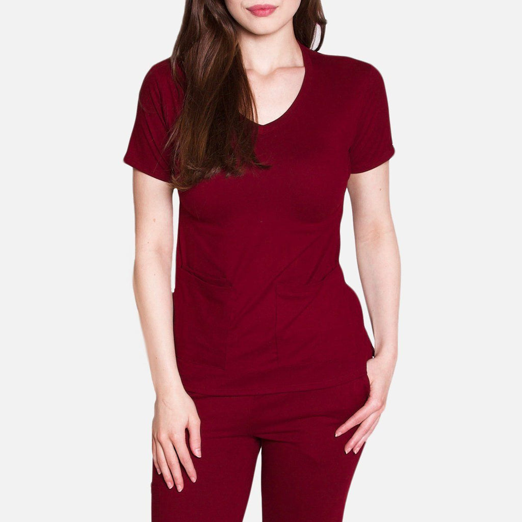 Premium Wine Berry Women's Scrub Top
