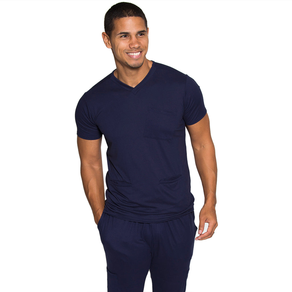 Premium Navy Men's Scrub Top