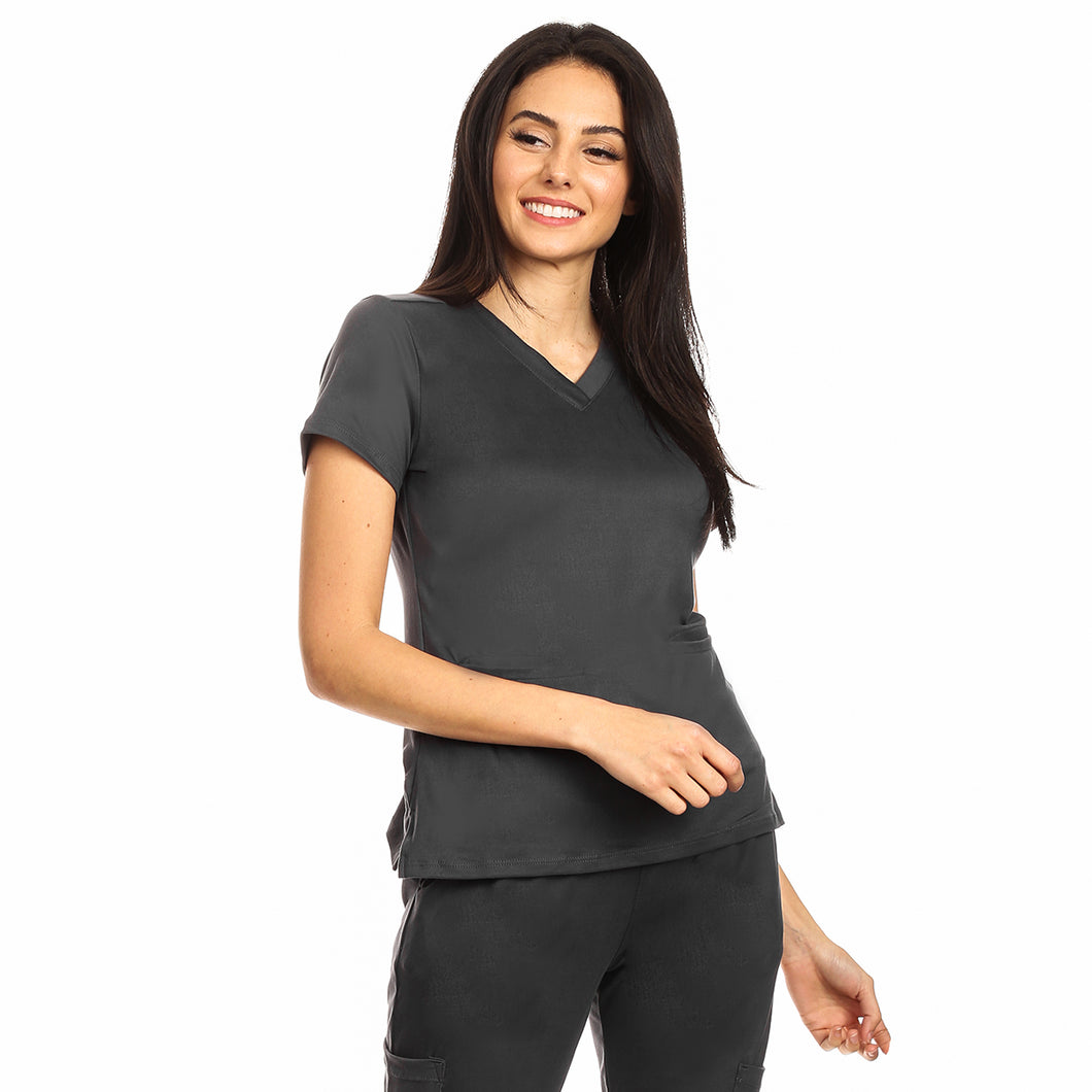 Premium Charcoal Grey Women's Scrub Top