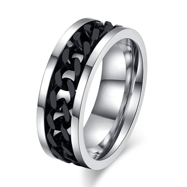 Black Chain Titanium Steel Ring for Men