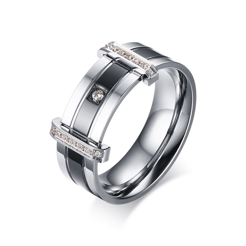 Men's Rings Stainless Steel Zirconia Crystal