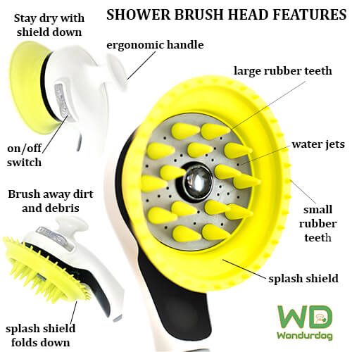 Wondurdog Shower Brush Head (White & Green) *Only Brush Head